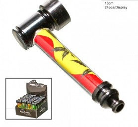 Metall Rasta Leaf Pipe 13cm