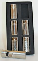 Taschenascher chrom silber 6er Set