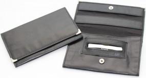Feinschnittasche Nappaleder mit Metallecken schwarz