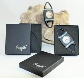 Zigarrenschneider gummiert Angelo schwarz-grau